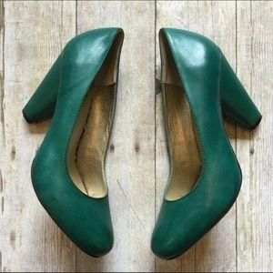 Seychelles Leather Teal Forest Green Stacked Heels